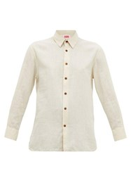 Solid And Striped Button Through Cotton Blend Shirt Cream