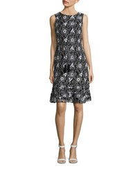 Karl Lagerfeld Chain Belt Accented Sleeveless Floral Shift Dress Black White