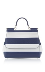 Dolce And Gabbana Dauphine Stripe Top Handle Bag Navy