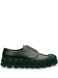 Prada Brushed Leather Laced Derby Shoes Green