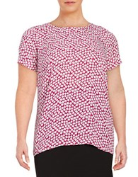 Vince Camuto Plus Printed Hi Lo Top Purple