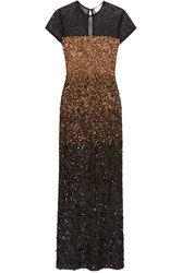 Mikael Aghal Sequined Tulle Gown Metallic