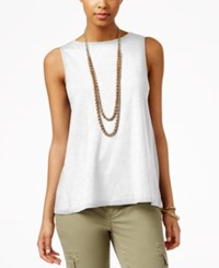 American Living Sleeveless Back Lace Panel Top Only At Macy's White