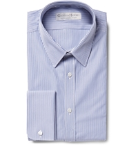 Gieves And Hawkes Navy Slim Fit Striped Textured Cotton Shirt Blue