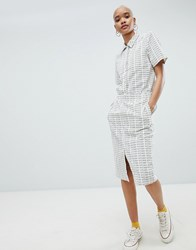 Stussy Pencil Skirt With Repeat Logo Print In Corduroy Co Ord White