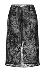 Goen.J Velvet Flocked Pencil Skirt Black