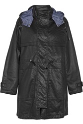 Current Elliott The Bridgeport Hooded Cotton Blend Coat Black