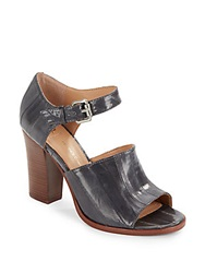 Vince Camuto Signature Wide Band Leather Ankle Strap Sandals Grey