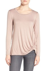 Gibson Women's Knotted Long Sleeve Tee Pink