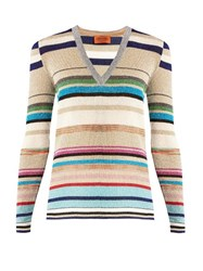 Missoni Striped V Neck Knit Sweater Blue Multi