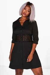 Boohoo Yvonne Lace Crochet Waist Shirt Dress Black