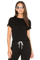 Monrow Cut Off Crew Neck Sweatshirt Black