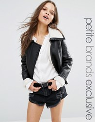 Glamorous Petite Faux Shearling Jacket With Pu Trim Detail Black