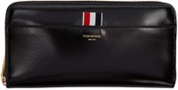 Thom Browne Black Long Zip Around Wallet