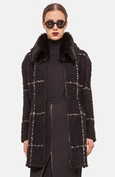 Akris Punto Wool Blend Coat With Genuine Shearling Collar Black Cream