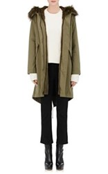 Army By Yves Salomon Women's Fur Lined Hooded Anorak Green