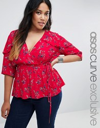 Asos Curve Wrap Front Blouse In Red Ditsy Floral Red