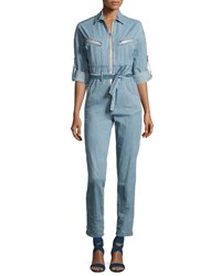 Iro Polly Zip Front Chambray Jumpsuit Blue