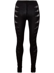 Rick Owens Lilies Ribbed Paneling Leggings Black