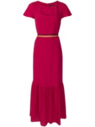 Paul Smith Ps By Fitted Waist Short Sleeved Long Dress Pink And Purple