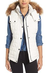 Marc New York Women's By Andrew 'Thea' Removable Faux Fur Collar Quilted Down Vest Snow