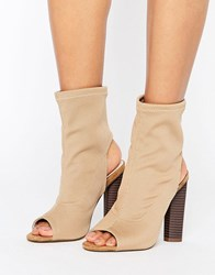 Truffle Collection Peep Toe Ankle Boot Taupe Stretch Black