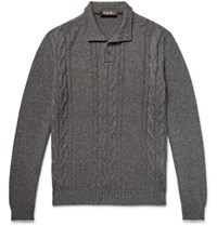 Loro Piana Cable Knit Cashmere And Silk Blend Sweater Dark Gray