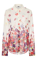 Sonia Rykiel By Flower Printed Crepe De Chine Shirt Ivory