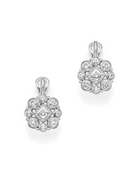 Judith Ripka Sterling Silver La Petite Snowflake Cluster Earrings With White Sapphire White Silver