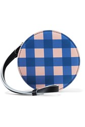 Diane Von Furstenberg Circle Gingham Leather Pouch Blue