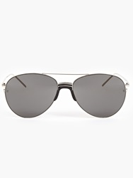 Linda Farrow White Gold Plated Aviator Sunglasses
