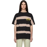 Aries Pink And Black Tie Dye Stripe T Shirt