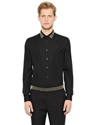 Alexander Mcqueen Studded Satin Collar Cotton Poplin Shirt