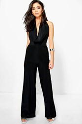 Boohoo Cowl Neck Jumpsuit Black