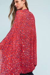Anthropologie Leopard Cocoon Kimono Red