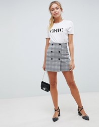 Asos Design Double Breasted Mini Skirt In Pink Check Multi
