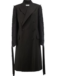 Dries Van Noten Sequin Embellished Trenchcoat Women Cotton Linen Flax S Black
