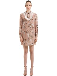 Rochas Floral Printed Silk Crepe De Chine Dress Poudre