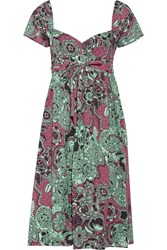 M Missoni Perforated Printed Cotton Dress Green