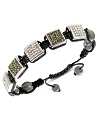 Macy's Men's Stainless Steel Bracelet Black And White Crystal Beaded Square Bracelet
