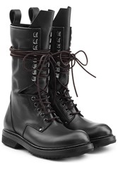 Rick Owens Leather Combat Boots Black