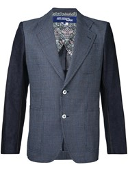 Junya Watanabe Comme Des Garcons Man Contrast Sleeves Checked Blazer Men Silk Cotton Wool S Blue