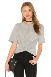 Alexander Wang Front Twist Short Sleeve Tee Gray