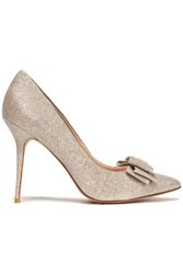 Lucy Choi London Bow Embellished Metallic Woven Pumps Gold