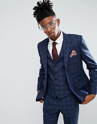 Rudie Blue Prince Of Wales Check Skinny Fit Suit Jacket