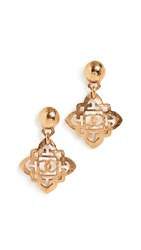 Wgaca What Goes Around Comes Around Chanel Dangle Earrings Gold