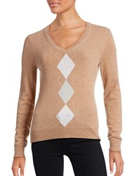 Lord And Taylor Petite Argyle Cashmere Sweater Classic Camel Heather