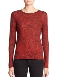 Proenza Schouler Long Sleeve Printed Jersey Tissue Tee Crimson Red Off White Multi
