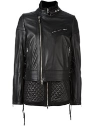 Diesel Black Gold Deconstructed Quilted Biker Jacet Black