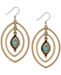 Lucky Brand Gold Tone Turquoise Look Stone Triple Hoop Earrings